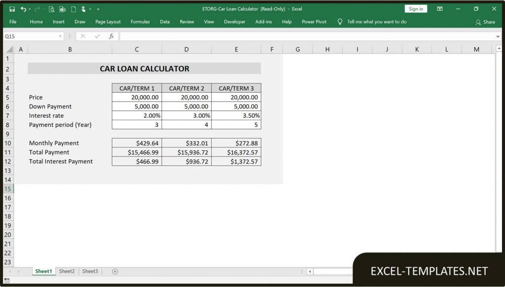 Car Loan Calculator - Excel Templates