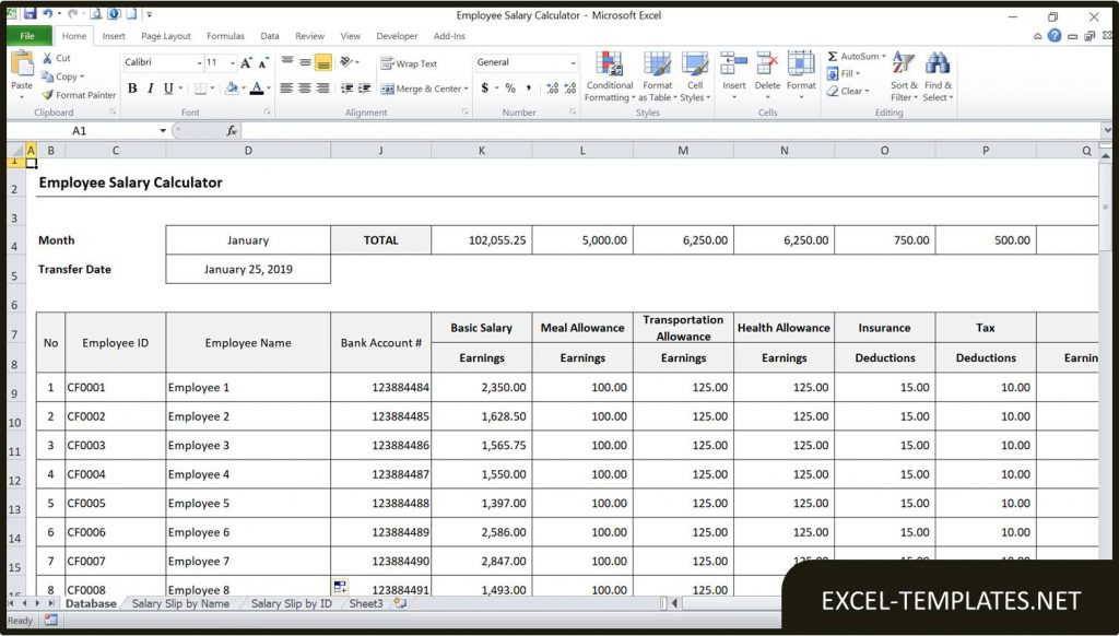 Employee Salary Calculator Spreadsheet