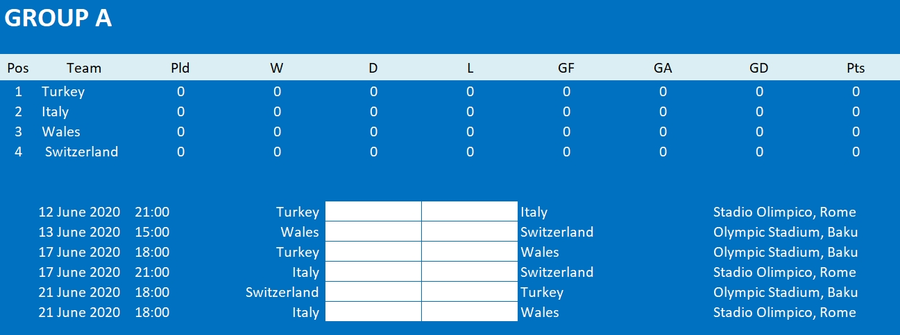 Euro 2020 Final Tournament Schedule Excel Templates