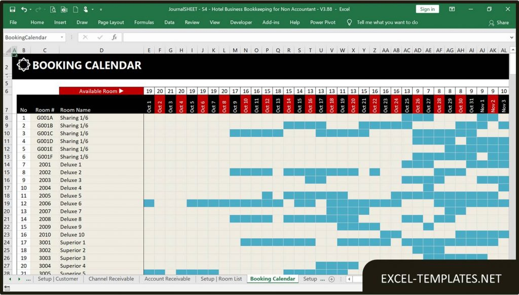 Hotel Reservation - Excel Templates
