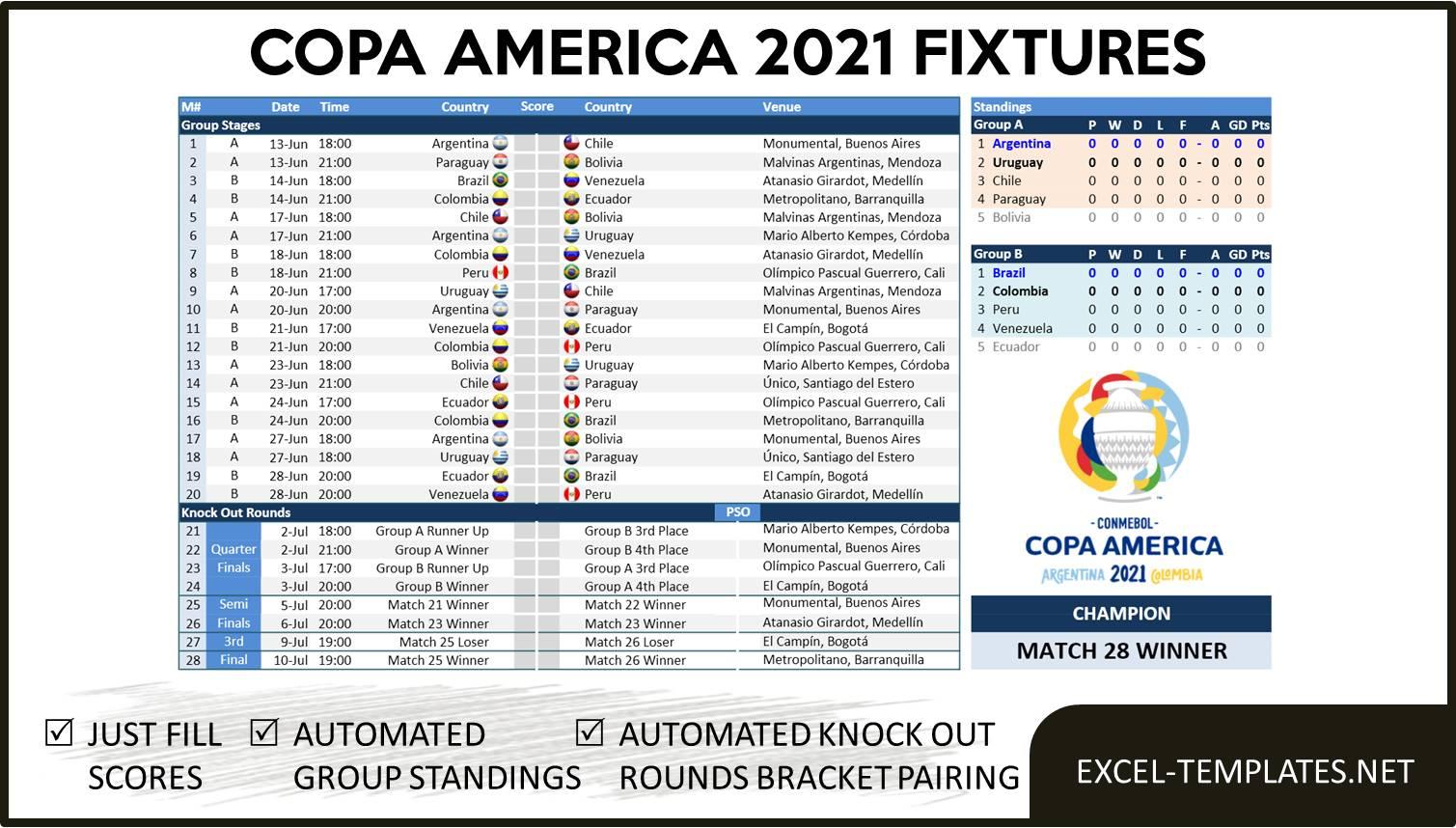 Copa America 2022 Calendrier Copa America 2021 Schedule » Excel Templates