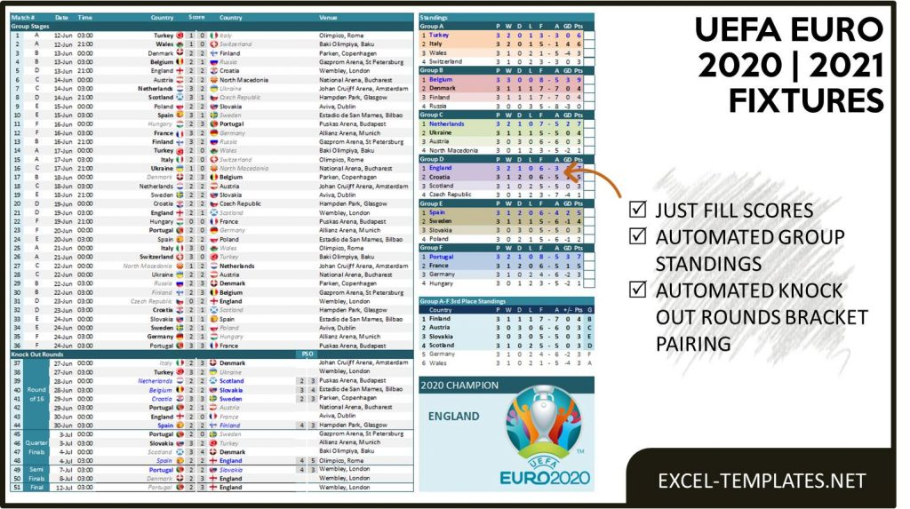 EXCEL-TEMPLATES NET - EURO 2020-2021 Fixtures and Scoresheet