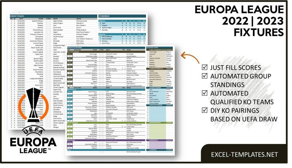 UEFA Europa League Fixtures and Scoresheet Template